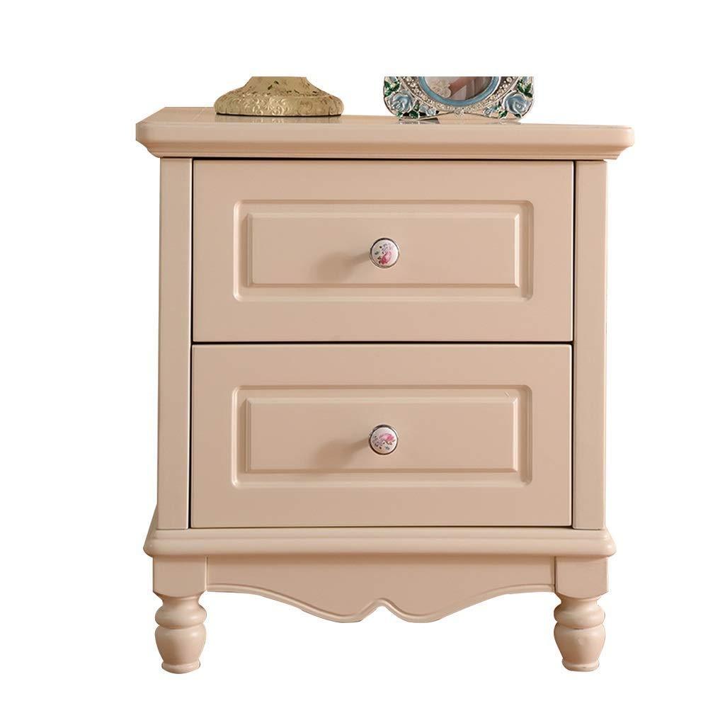 DWLXSH Schlafzimmer Nachttisch, Massivholz Breiten rustikalen Nachttisch, 2 Schubladen weißen Schrank mit Sich verjüngenden Beinen Schule Home Office Sofa Beistelltisch