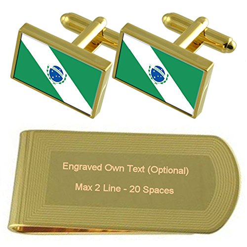 Money Paraná Gold Engraved Set Gift tone Clip Cufflinks Flag Iq1wqO