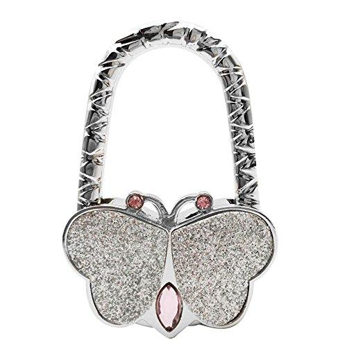 Butterfly Purse Hook (Grtdrm Cute Butterfly Style Premium Foldable Handbag Bag Purse Hanger Table Hook Holder (Silver))