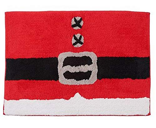 Santa Belt Christmas Throw Rug Red 20x30 Cotton Bath Mat ()