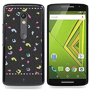 /Skull Market/ - Leopard Spots Abstract Pattern Grey Pink For Motorola Verizon DROID MAXX 2 / Moto X Play - Mano cubierta de la caja pintada de encargo de lujo -