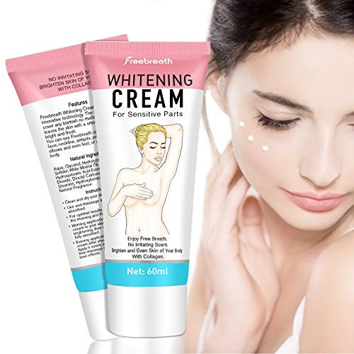 Whitening Cream for Sensitive Parts - Natural Lightening Cream for Face and Body - Moisturizing and Brightening Effect - For Legs, Neck, Underarm, Elbows and Intimate Areas - 60 ml