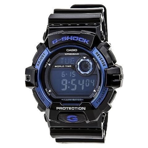 Casio Men's G8900A-1CR G-Shock Black and Blue Resin Digital Sport Watch (Mens Digital Sports Watch G Shock)