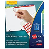Avery Index Maker Clear Label Dividers with Easy Apply Labels for Laser and Inkjet Printers, 8 tabs, Pastel, 5 Sets, (11991)