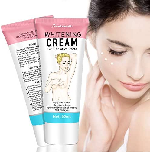 Whitening Cream for Sensitive Parts – Natural Lightening Cream for Face and Body – Moisturizing and Brightening Effect – For Legs, Neck, Underarm, Elbows and Intimate Areas – 60 ml