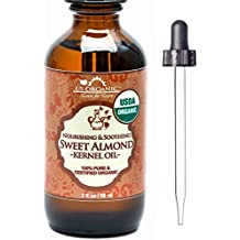 New_US Organic Sweet Almond Kernel Oil, USDA Certified Organic,100% Pure & Natural, Cold Pressed Virgin, Unrefined in Amber Glass Bottle w/ Glass Eyedropper for Easy Application (2 oz (56 ml))