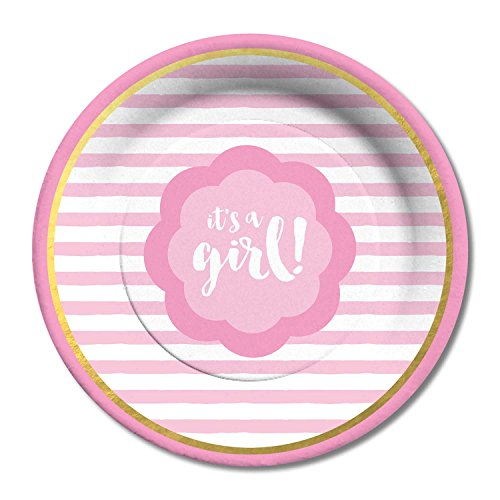 C.R. Gibson Paper Dinner Plates, It's a Girl, 8 Count
