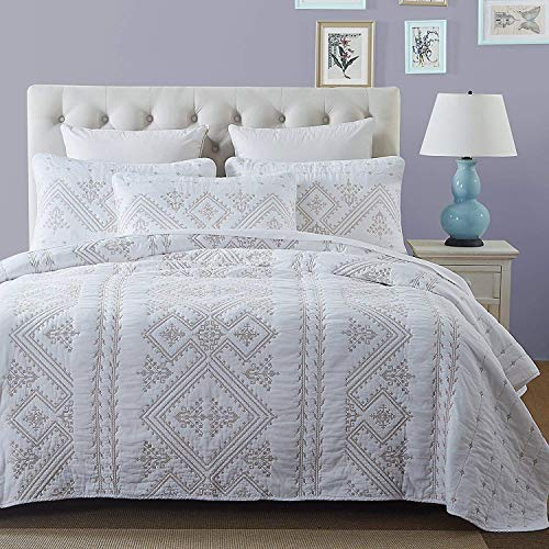 Aivedo Queen Size Coverlet 3 Piece Quilt Set Reversible White Cotton Embroidery Florentine Bedspread Set Bed - Embroidery Bedspread
