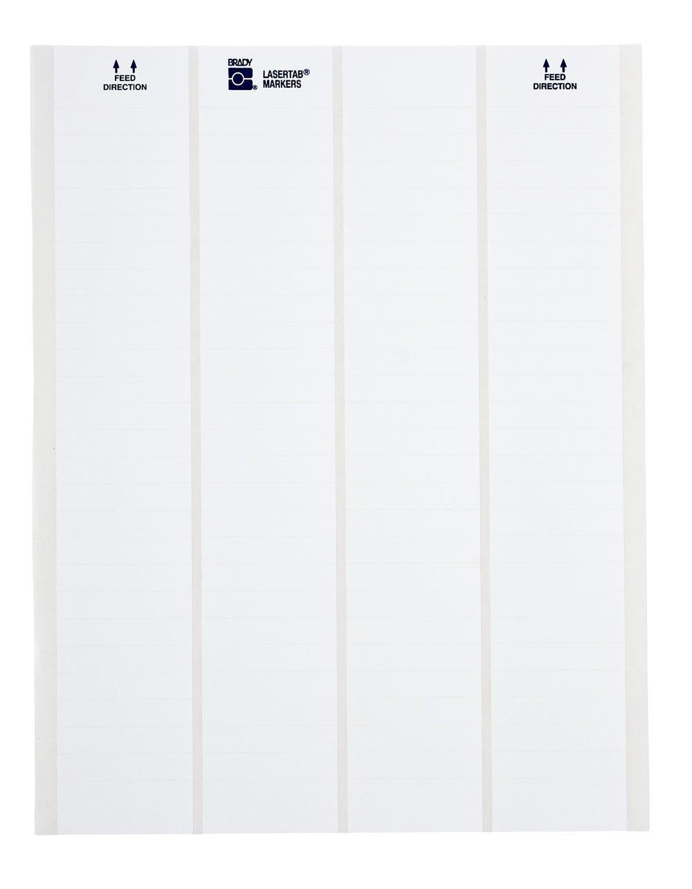 Brady LAT-3-747-10 0.65'' Width x 0.25'' Height, B-747 Permanent Polyester, Matte Finish White Lasertab Laser Printable Label (Pack of 10000)