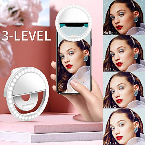 Selfie Ring Light, Enlody Dimmable Clip Ring Lighting - Rechargeable 36 LED Bulbs Light for iPhone, Android, Tablet, iPad, Laptop, Camera (White) by Enlody (Image #1)