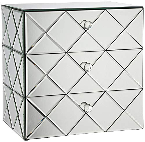 Studio 55D Newry 3-Drawer Silver Mirrored Jewelry Box (Mirrored Box Jewelry Small)