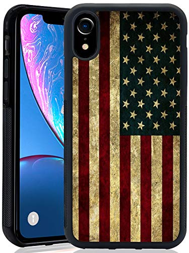 Case with American Flag Pattern for iPhone XR(2018) himsical Design Bumper Black Soft TPU and PC Protection Anti-Slippery &Fingerprint Case for iPhone XR