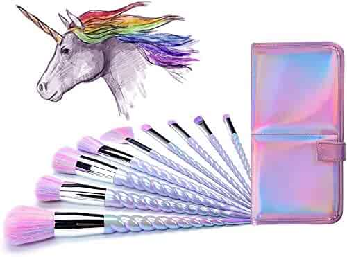 Ammiy Unicorn Makeup Brushes Set Fantasy Makeup Tools Foundation Eyeshadow Unicorn Brushes Kit With a Cute Carrying Case (10Pcs, USA Based Fast Shipping It Will Take 3-5 Working Days To Get delivered)