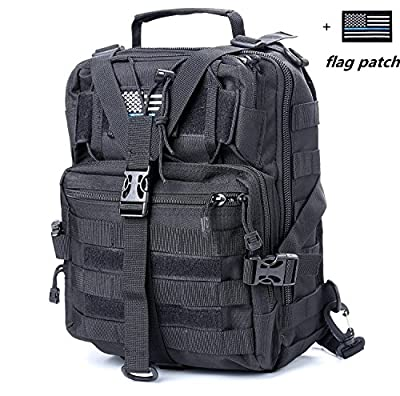 BX Outdoor Tactical Shoulder Backpack?+flag patch? , Military & Sport Bag Pack Daypack for Camping, Hiking, Trekking, Rover Sling,chest bag.
