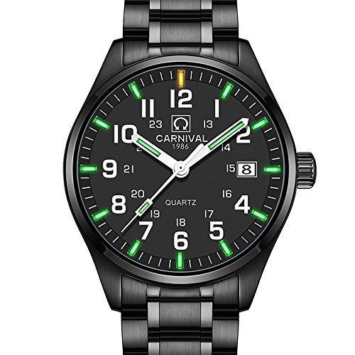 Watch Mens Bright Quartz (Men's Quartz Watch Arabic Analog Outdoor Military Tritium Gas Super Bright Self Luminous Blue Or Green (Green Light-All Black-White Markers))