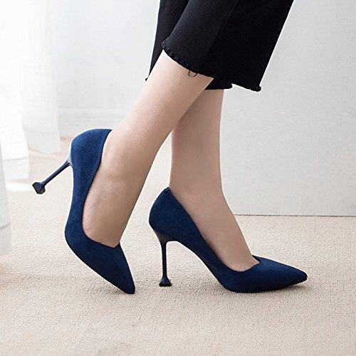 coreana de Zapatos professional gato con botas felpa con versión Tacón fina de The punta una superficie blue de negro la rqrI4dw