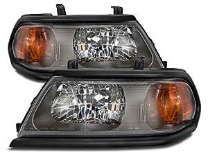 mitsubishi montero sport flat black headlight headlamp driverpassenger pair new - Mitsubishi Montero Sport 2002 Black