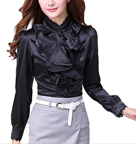 DPO Women's Chiffon Button Down Ruffle Lace Founcing Front Shirt Long Sleeve ()