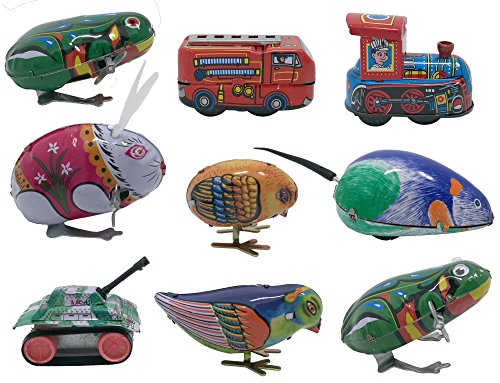 (9 pcs Box Collection of retro vintage wind-up metal tin toys, cool crazy gift, frog, rabbit, bird, chick, truck, locomotive, mouse, tank)