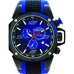 TechnoSport TS-100-4F1 Mens Black and Blue Silicone Band, Black Bezel, 44MM Black and Blue Dial,Stainless Steel Chronograph Watch