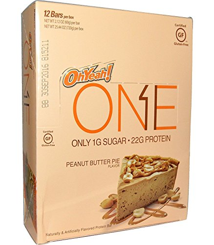 ONE Protein Bar, Peanut Butter Pie, 20g Protein, 1g Sugar, 12-Pack (packaging may vary)