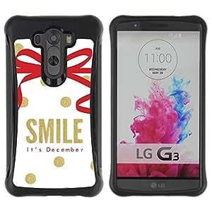 Suave TPU GEL Carcasa Funda Silicona Blando Estuche Caso de protección (para) LG G3 / CECELL Phone case / / December Christmas Gold White /