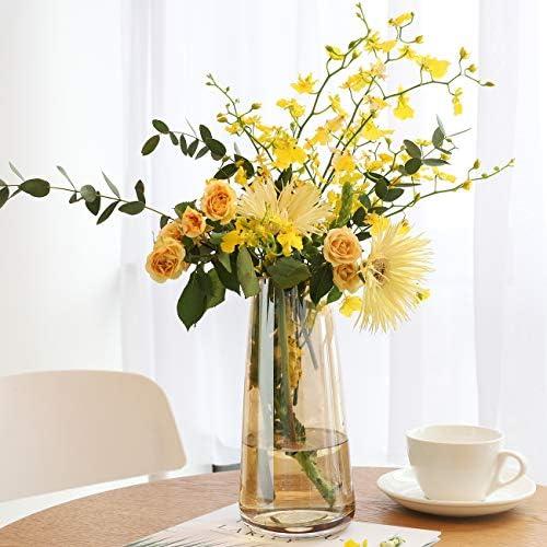 Lewondr 22cm Vaso da Fiori di Vetro, Accessori Fiori da Giardino, Camera, Ufficio, Portafiori Vasi per Piante, Fiori, Casa – Ambra