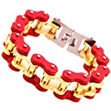 Perfect Stainless Steel Strong Men Biker Motorcycle Chain Bracelet,Gold Red