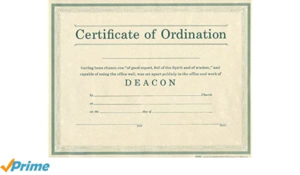 Certificate of Ordination Deacon Parchment Paprer: Broadman & Holman ...