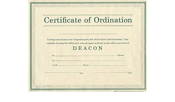 certificate of ordination deacon parchment paprer broadman holman publishers 9780805472707 amazoncom books