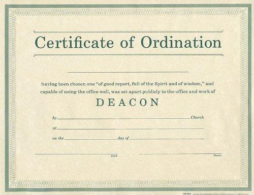 Certificate of Ordination Deacon Parchment - Certificate Ordination