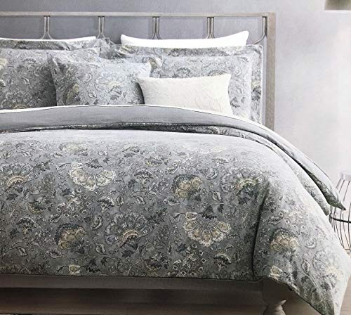- Tahari Home Maison Bedding 3 Piece Queen Size Luxury Cotton 3 Piece Duvet Cover Set Jacobean Floral Pattern in Shades of Tan Gray Cream Taupe on Gray
