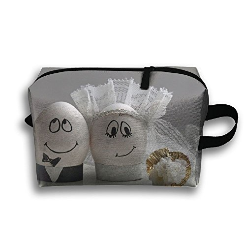 LEIJGS Cute Couple Egg Small Travel Toiletry Bag Super Light Toiletry Organizer For Overnight Trip Bag by LEIJGS