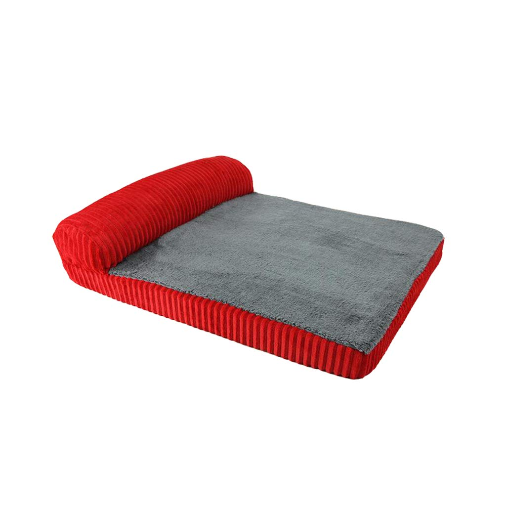 Red 103X89X5cm Red 103X89X5cm AIDELAI Memory Foam Dog Sofa Bed, Premium Corduroy and Smooth Velveteen Fabric, Detachable and Washable (color   RED, Size   103X89X5cm)