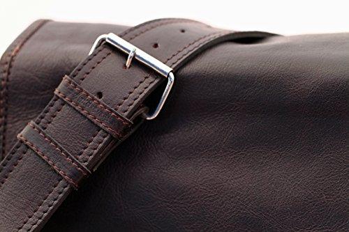 LE MESSAGER L Indus - Tiefdunkelbraun PAUL MARIUS Umhängetasche Leder Vintage-Stil Größe M (A4)