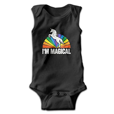 Qjjfoei-jia Baby I'm Magical Rainbow Unicorn Healthy Creeping Suit