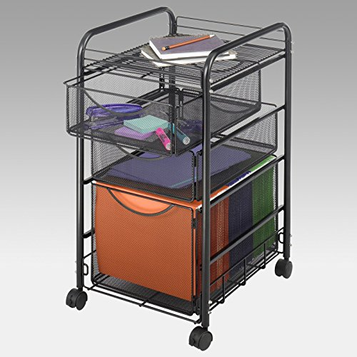 Safco Mesh File Rolling Cart With 1 File Drawer And 2 Sma...