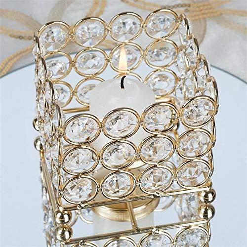 Efavormart Gold Illuminating Square Votive Tealight Wedding Crystal Candle Holder - 3.25