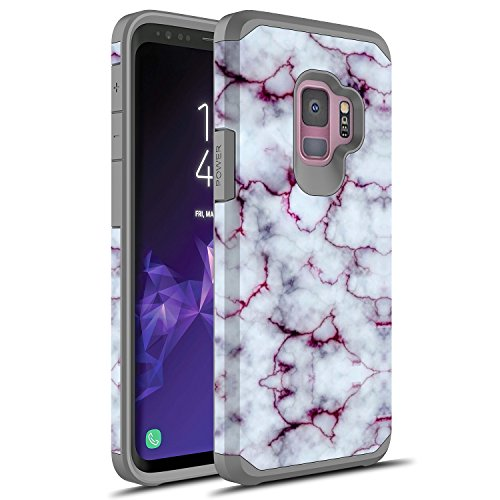 S9 Plus Case, Galaxy S9 Plus Case, Rosebono Slim Hybrid Dual Layer Shockproof Hard Cover Graphic Fashion Cute Colorful Silicone Skin Cover Armor Case for Samsung Galaxy S9 Plus (Purple Marble)