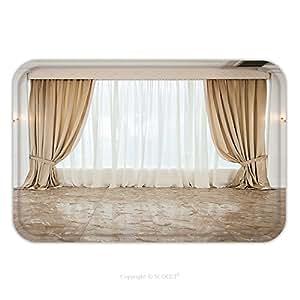 Franela de microfibra antideslizante suela de goma suave absorbente Felpudo alfombra alfombra alfombra Beige de cortinas de lujo en un gran luminoso salón 189937562para interior/exterior/cuarto de baño/cocina/Estaciones de trabajo