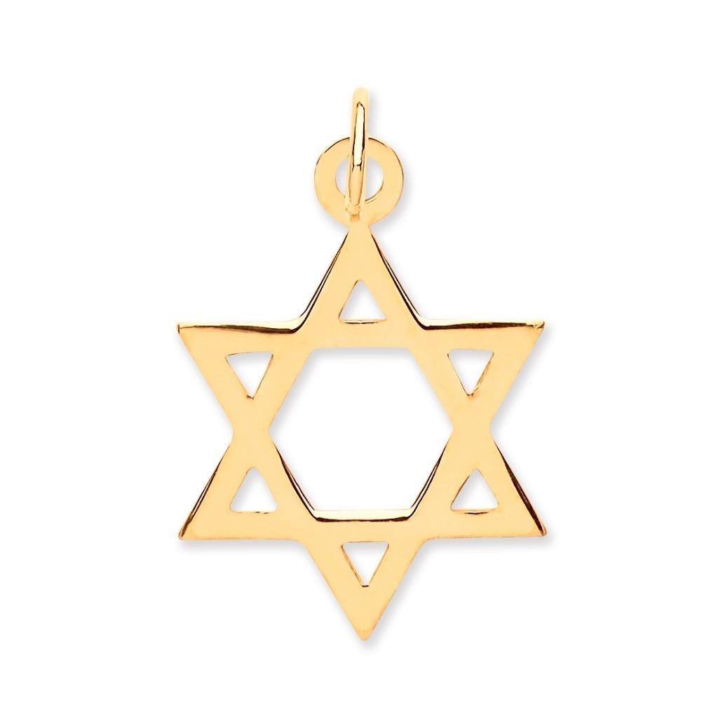 Small 9ct Yellow Gold Plain Star of David Pendant 18x18mm