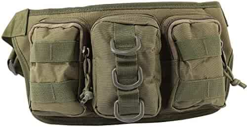 Tactical Waist Pack, Hamne Small-sized Portable Fanny Pack Outdoor Waterproof Tactical Three-pouch Waist Bag for Nerf CS - (Army Green)