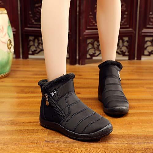Antideslizantes Forro Negro Aire Moda Con Casuales Cremallera Planos Tobillo Lateral Al De Para Libre Caminar Invierno Mujer Nieve Zapatos Botas wqYp6g1