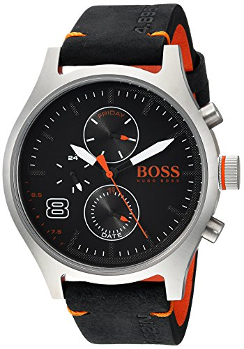 HUGO BOSS Men's Amsterdam Stainless Steel Quartz Watch with Leather Calfskin Strap, Black, 22 (Model: 1550020) (Boss Orange 31)
