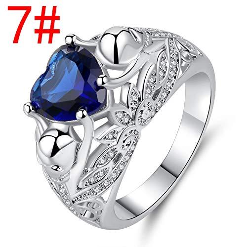 Creative Skull Zircon Ring Female Diamond-Studded Blue Gem Punk Jewelry
