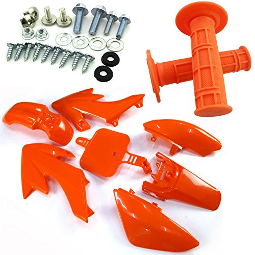 TC-Motor Orange Body Work Fender Fairing Kit Plastic Bolts Screws Kits Throttle Handle Grips For Pit Bike 50cc 90cc 110cc 125cc 150cc 160cc Honda Dirt Bike CRF50 XR50 Dirt Bike Body Kits