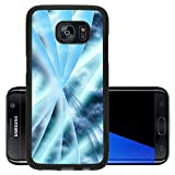 Luxlady Premium Samsung Galaxy S7 Edge Aluminum Backplate Bumper Snap Case IMAGE 19863052 Digital abstract shapes glowing in blue tones