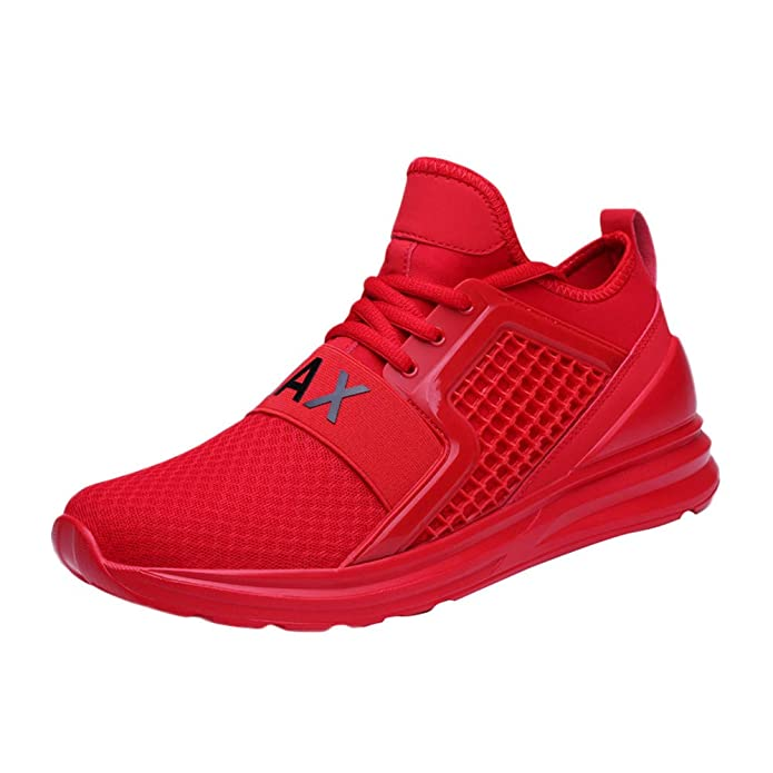 Amazon.com | JSPOYOU Casual Mens Lace-Up Running Shoe Wear Resistant Solid Color Sneaker | Fashion Sneakers