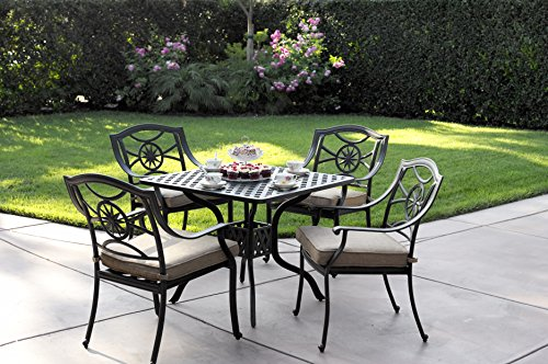 (Darlee Ten Star Cast Aluminum 5 Piece Series 30 Square Dining Table Set with Seat Cushions, 36