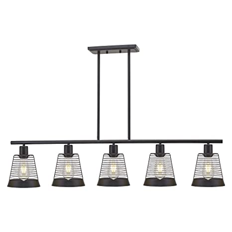 5 Light Farmhouse Linear Chandeliers Black Kitchen Island Dining Room Lighting Industrial Vintage Ceiling Fixtures UL Listed By BONLICHT